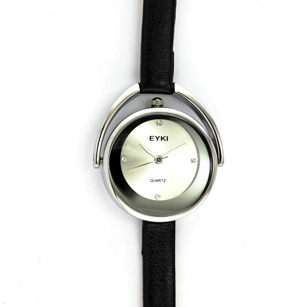 Elegantní dámské hodinky s úzkým lesklým koženým řemínkem a hnědým číselníkem se zirkony místo indexů..0549 170852 Hodiny