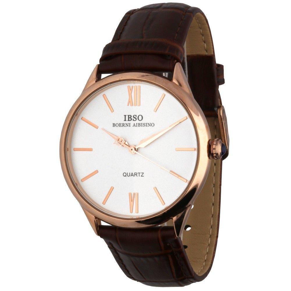Módní hodinky s pouzdrem z růžového zlata a černým koženým řemínkem..0595 170879 Hodiny