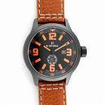 Pánské hodinky s koženým páskem s barevným prošíváním v barvě číselníku..0518 170838 Hodiny