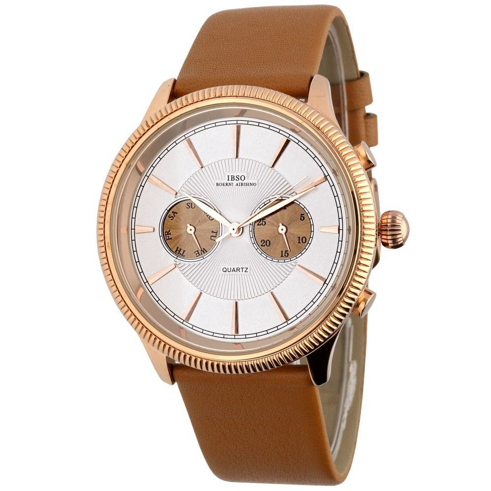 Stylové hodinky s koženým řemínkem a ukazatelem data..0597 170881 Hodiny