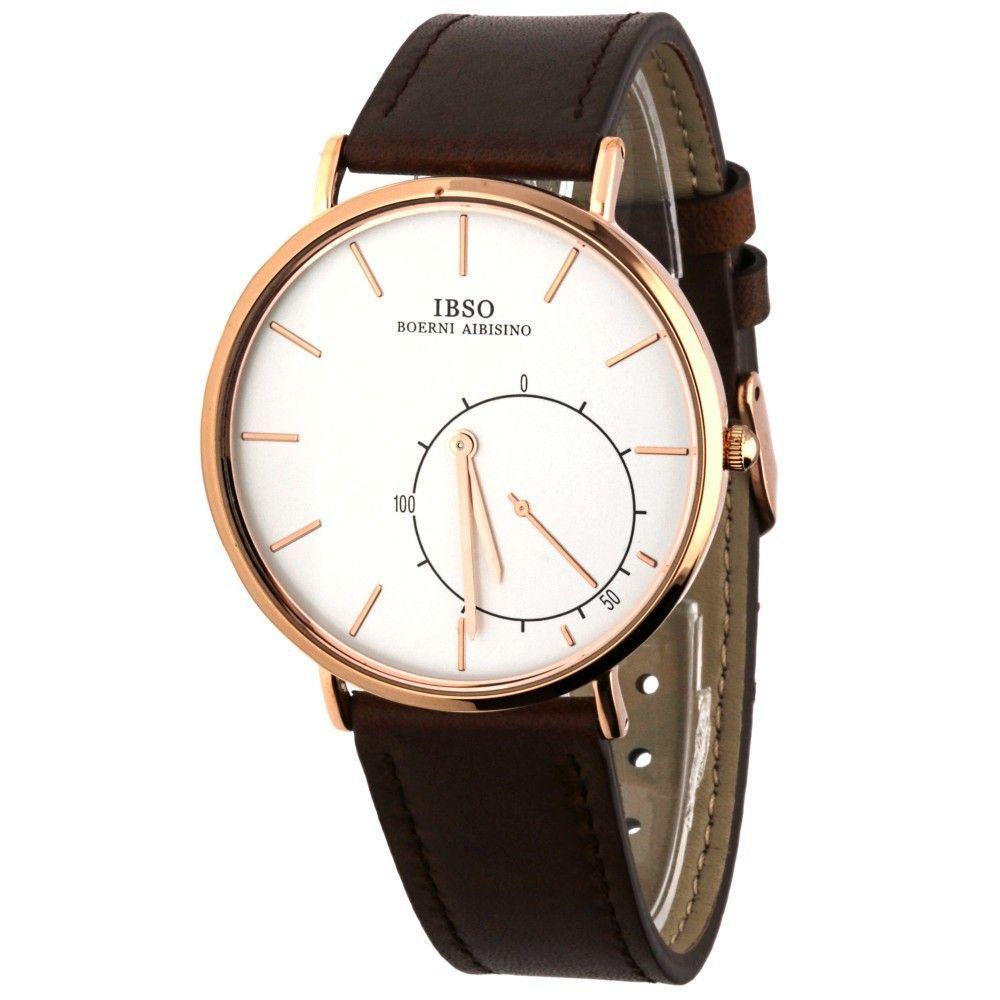Stylové hodinky s koženým řemínkem v černém provedení..0593 170877 Hodiny