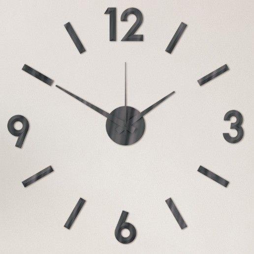Nový originální design nástěnných nalepovacích hodin. Plně tvarované číslice a indexy v černé barvě. .01309 171422 Hodiny